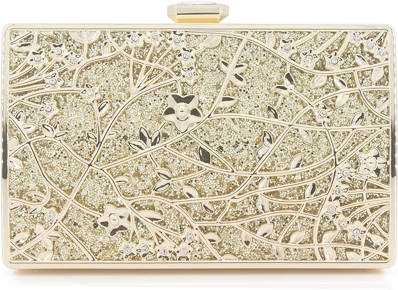 Dexmay Formal Floral Evening Bag for Wedding Party Luxury Glitter and Rhinestone Crystal Clutch Purse