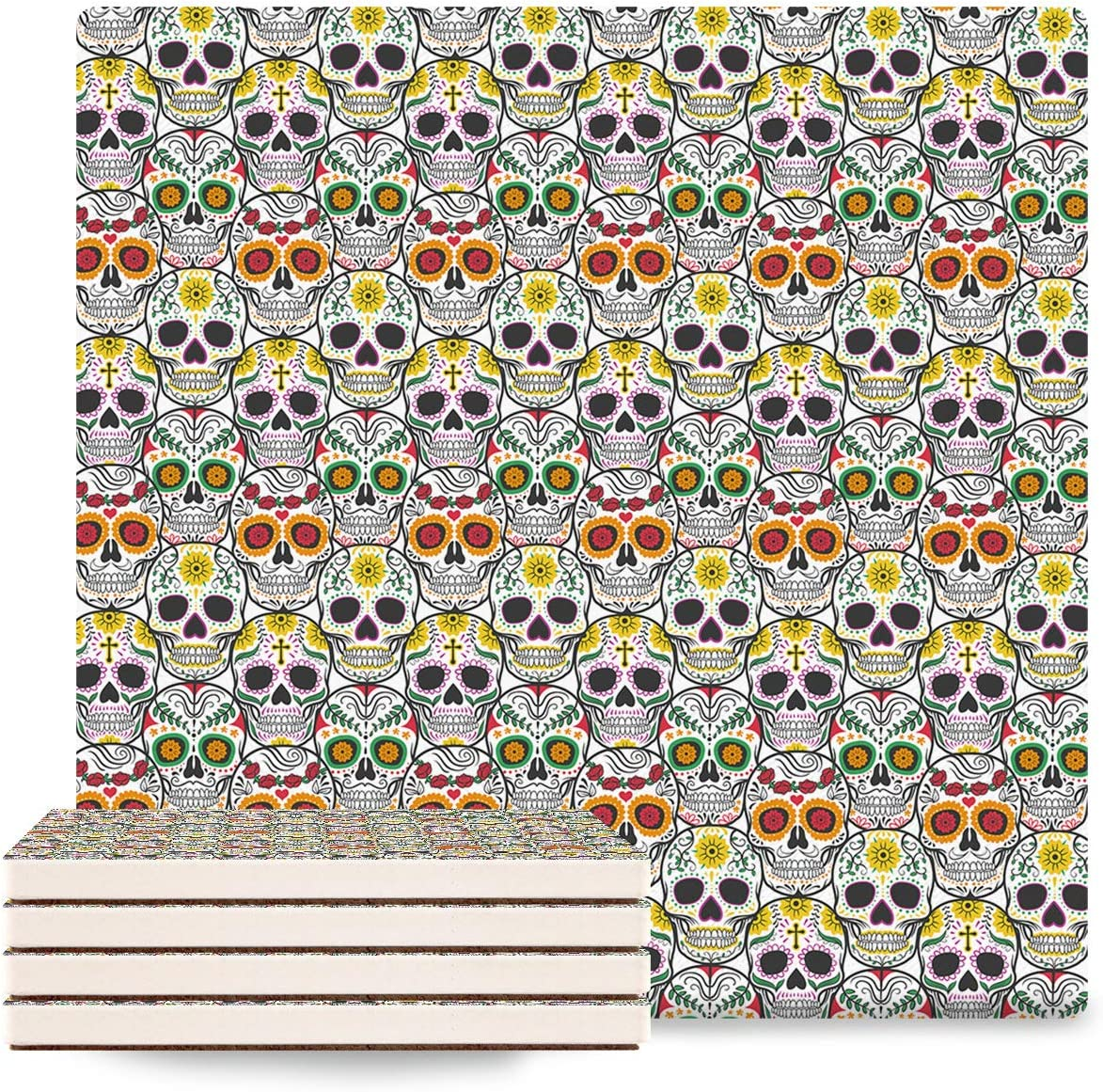 8 piece Coasters Skulls Decor Limited Special Price Ceramic w Stone Absorbent Max 83% OFF