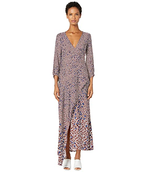 YIGAL AZROUËL Falling Leaf Printed Twill V-Neck Dress with Drape