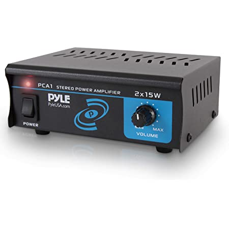 Pyle PCA1.5 2x15 Watt Stereo Power Amplifier - Compact Mini 2-Channel Portable Home Audio Speaker Receiver Box for Amplified Speakers Sound System with RCA Cable L/R Input for CD Player, Tuner, MP3