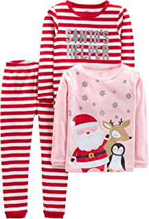 Baby, Little Kid, and Toddler Girls' 3-Piece Snug-Fit Cotton Christmas Pajama Set
