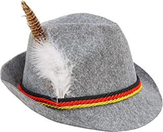 Skeleteen German Oktoberfest Alpine Fedora - Bavarian Swiss Traditional Trachten Felt Costume Hat with Feather for Kids and Adults