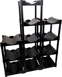 Bottle Buddy TBB80016 Storage System, Black, 12-Pack, 12 Shelves