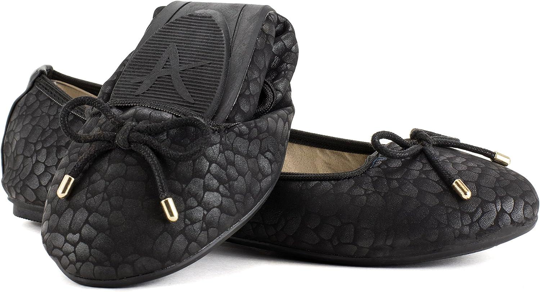 Avanti Kayla Ballet Foldable Travel shoes with Bow Design Black