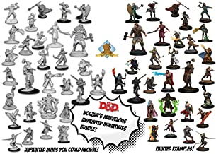 30 Random D&D Dungeons and Dragons Nolzur's Unpainted Player Character Miniatures with 4X 7-Dice & Pouch Sets Plus Golden Groundhog Glue and Treasure Box!