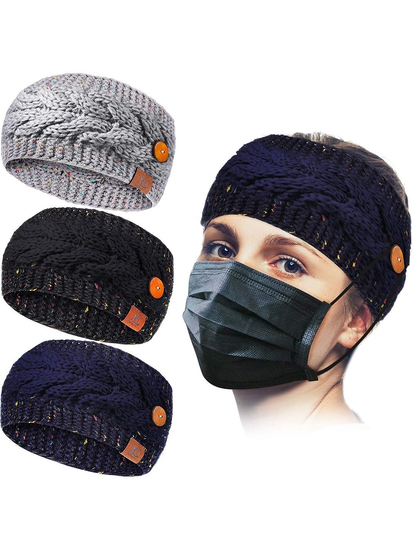 3 Pieces Winter Knit Ear Warmer Headband with Button Crochet Wide Elastic Head Wrap Ear Muffs for Women Girls