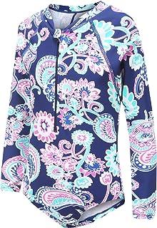 Girls Long Sleeve Rash Guard One Piece Swimsuit Kids UPF 50+ Sun Protection Swimwear Rainbow Striped Bathing Suit 3-14 Years