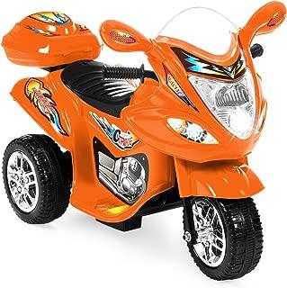 Best Choice Products Kids 6V Electric 3-Wheel Motorcycle Ride On, LED Lights/Sound, Storage, Orange