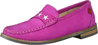 MARC JOSEPH NEW YORK Unisex Leather Loafer with Gold Embroidered Star, Pink Nubuck, 5.5 M US Little Kid