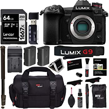 "Panasonic Lumix G9 Mirrorless Camera Body 20.3 MP G9KBODY, Lexar 64GB High Speed SD Card U3, Polaroid 72"" Monopod, Spare Battery, Battery Charger, Ritz Gear Cleaning Kit and Accessory Bundle"