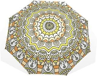 HMWR Umbrella Windproof Compact Art Ethnic Paisley Floral Pattern Folding Travel Rain Umbrella