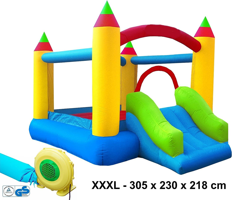 Izzy Hüpfburg Bogen Komplett-Set Outdoor aufblasbar TüV GS Geblse 250W Springburg Spielburg Rutsche Drauen Kinder-Party Spring-Schloss Bouncer (XXXL Super Castle - 305x230x218cm)