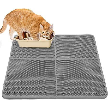 Pet Cats Waterproof Double-Layer Cats Litter Mat Trapper Foldable Pads Rug Gelentea Cat Litter Mat Multifunctional Double Layer Honeycomb Design Easy Clean