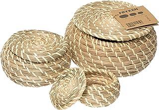 FRYKEN - Boîte avec couvercle, 3 pièces, herbier marin jonc de mer