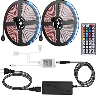 ANOOVV Led Strip Lights Waterproof, DC12V 33Ft 300leds 5050RGB Led Light Strip with Flexible 3M Tape IR DIY Controller 44Key Remote, 5A Power Supply for Kitchen, Bedroom, Sitting Room