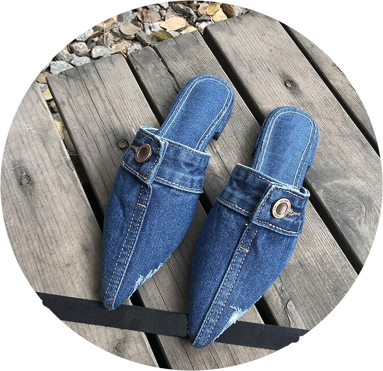Women Pointed Toe shoes Flats Jeans Slippers Female Slides Designer Slippers,bluee,37