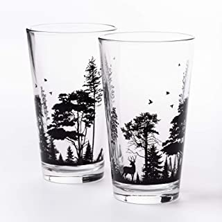 Pint Glasses by Black Lantern – Handmade Craft Beer Glasses and Bar Glassware – Forest and Animals Design (Set of Two 16o...