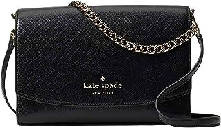 حقيبة كتف من كيت سبيد كارسون، قابلة للتحويل بحزام متقاطع جلدي أسود WKR00119