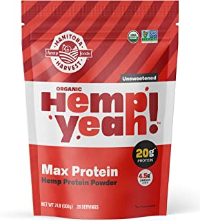 Manitoba Harvest Hemp Yeah! Organic Max Protein Powder, Unsweetened, 32oz; with 20g protein and 4.5g Omegas 3&6 per Servin...