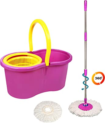 Eco Alpine 360 Degree Magic Spin Mop with Plastic Spinner Plus 1 Refill Pack (Purple and Yellow)