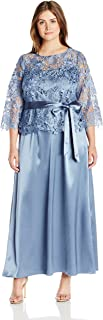 Marina Women's Plus Size Long 2 Pc Look Gown with Lace Top Satin Skirt