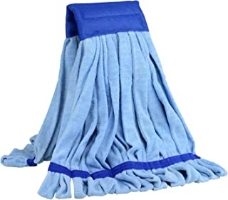 Large Microfiber Tube Mop | Commercial Wet Mop Head Replacement | Dries 3X Faster Than Cotton String Mops | Machine Washable (Blue)