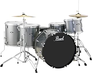 Pearl Roadshow RS525WFC/C706 5-Piece Drum Set, Charcoal Metallic