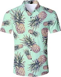 Men Hawaiian Button Down Shirts Short Sleeve 3D Printed Dress Shirt for Tropical Aloha Casual Holiday