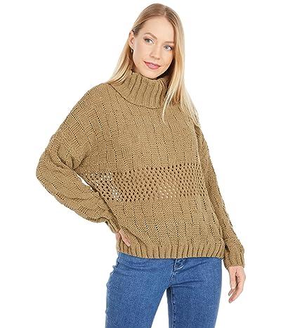 Miss Me Turtleneck Knit Sweater (Olive) Women