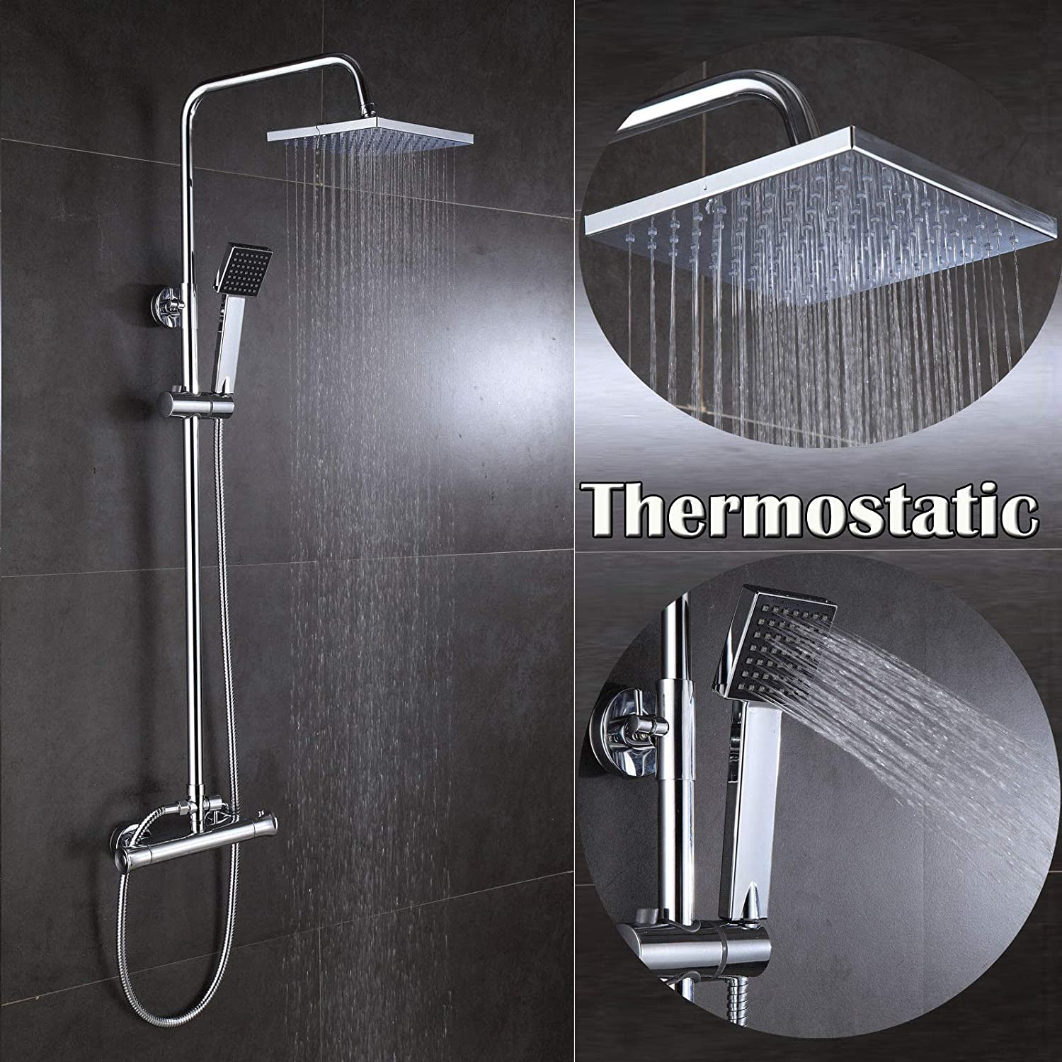 Square Shower Set Thermostatic Mixer Bar Value Dual Control Overhead Rain Head and Handset Combo Kit Chrome with UK Standard Fitting