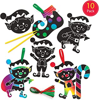 Baker Ross Christmas Elf Scratch-Off Art Decoration Kits (Pack of 10) Fun Arts & Crafts Project for Kids