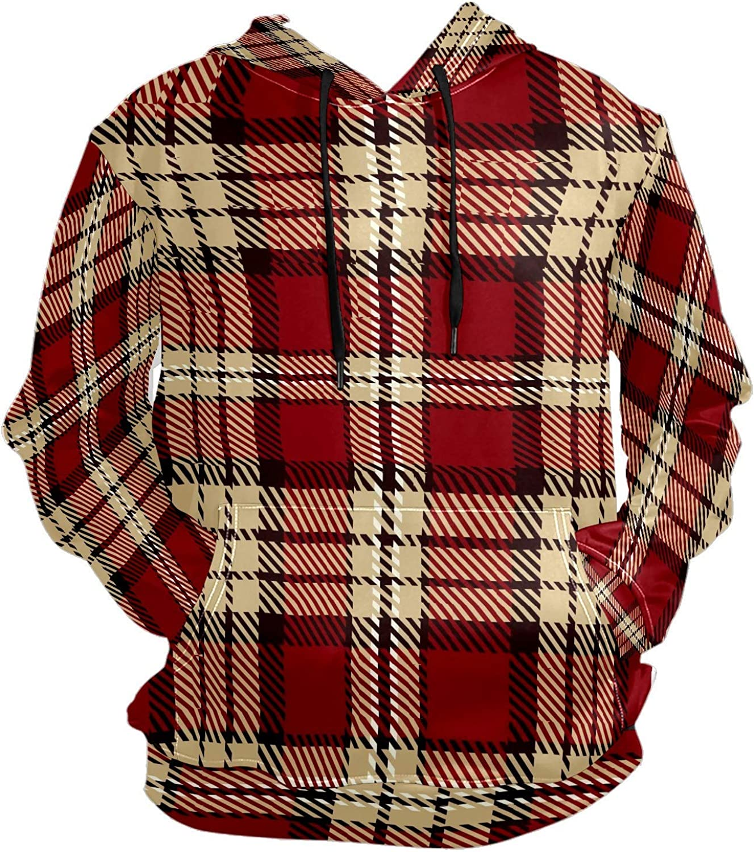 Men's Sport Hoodie Vintage Red Plaid Lattice Big and Tall Hoodies for Men Women Oversized Hooded Sweatshirt Hip Hop Pullover Hoodie Midweight Hood for Boys Girls