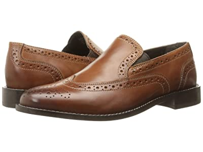 Nunn Bush Norris Wing Tip Double Gore Dress Casual Slip-On (Cognac) Men