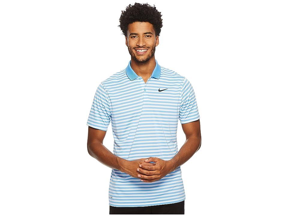 Nike Golf Dri-FITtm Mini-Stripe Victory Polo (University Blue/White/Black) Men