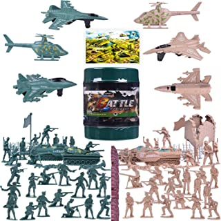 FUN LITTLE TOYS 232 PCs Army Men Action Figures Army Toys of WW 2, Easter Egg Stuffers, Military Playset with a Map, Toy Tanks, Planes, Flags, Soldier Figures, Fences & Accessories