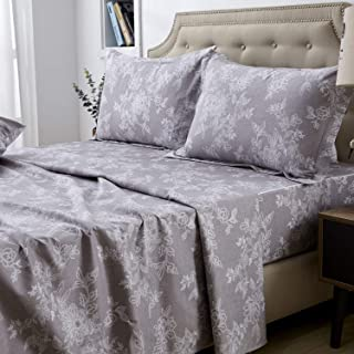 FADFAY Sheet Set Twin XL Farmhouse Bedding Shabby Floral Vintage Gray Bedding 100% Cotton Super Soft Hypoallergenic Grey and White Deep Pocket Fitted Sheet 4-Pieces Twin Extra Long Size
