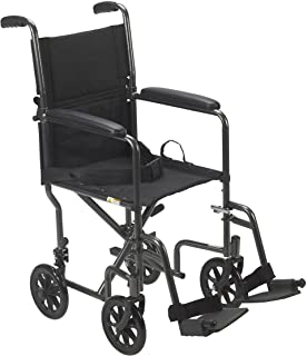 """Drive Medical Lightweight Steel Transport Wheelchair, Fixed Full Arms, 19"""" Seat, Silver"""