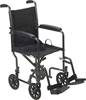"Drive Medical TR39E-SV Lightweight Steel Transport Wheelchair, Fixed Full Arms, 19"".."