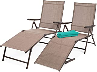 Best Choice Products Set of 2 Outdoor Adjustable Folding Steel Textiline Chaise Reclining Lounge Chairs w/ 6 Back & 2 Leg ...