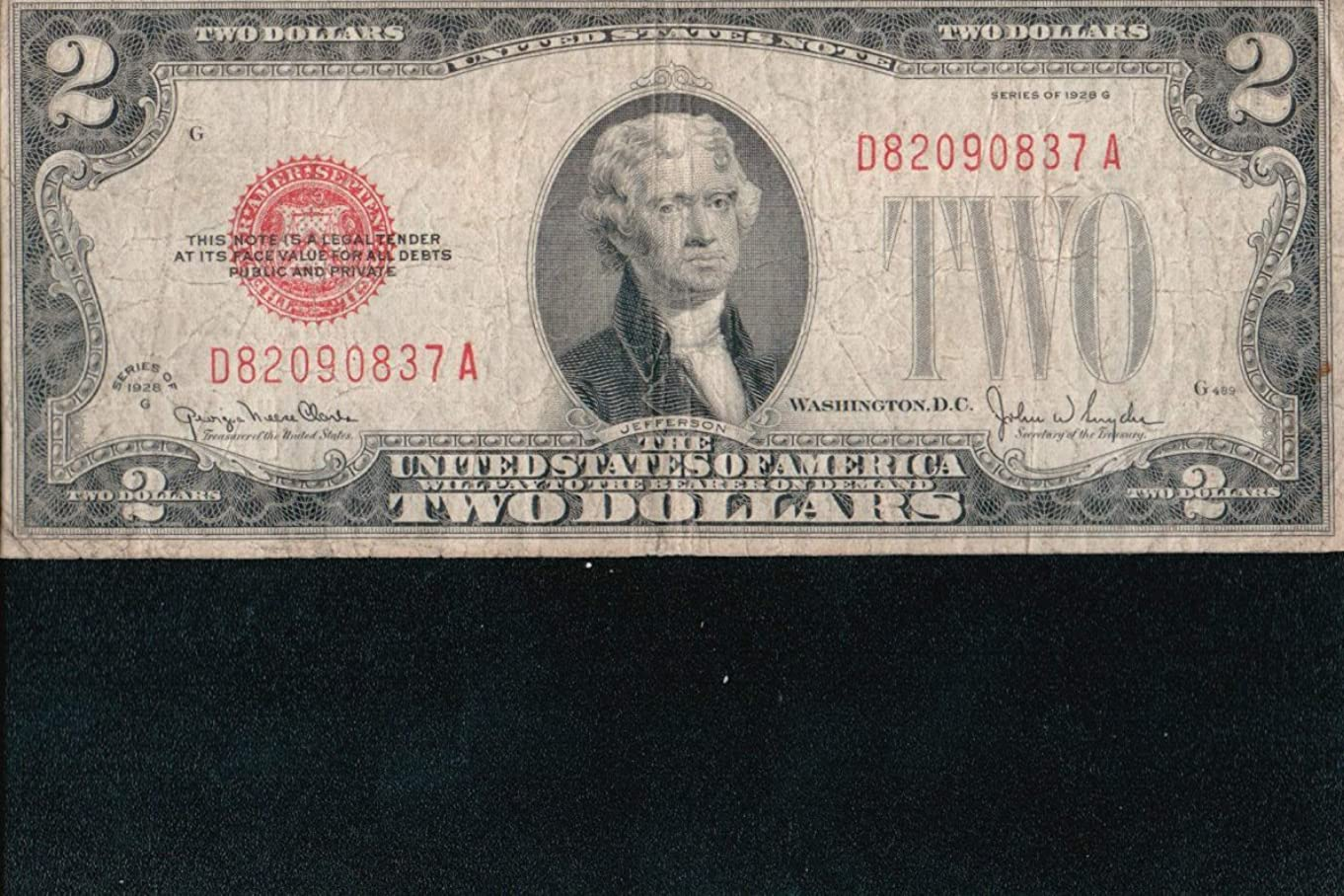 1928-G $2 United States Note -- Red Seal -- Good/VG