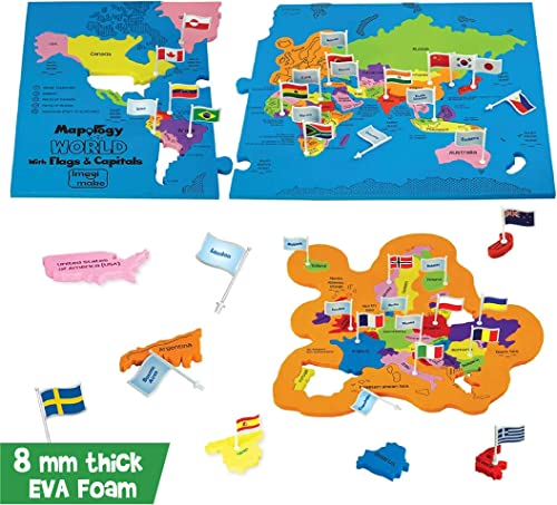 Imagimake: Mapology World with Flags & Capitals- with Country Shaped Pieces- Jigsaw Puzzle and Educational Toy for Bo...
