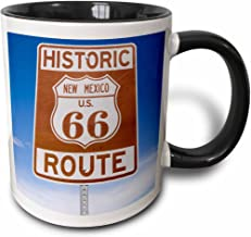 3dRose (mug_92526_4) New Mexico, Santa Fe, Route 66, historic sign - US32 BBA0019 - Bill Bachmann - Two Tone Black Mug, 11oz