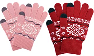 Solid Color Wool Magic Glove Warm Stretch Knitted Gloves for Kids Boys Girls 2 Pairs