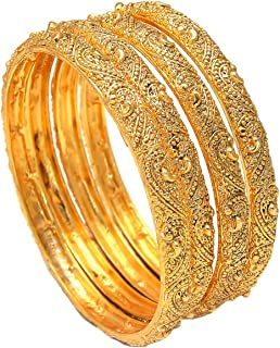 GEODE DELIGHT Gold Plated Bangles for Women's & Girl's(Pack of 4)