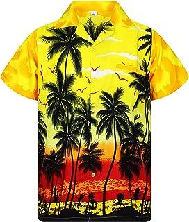 V.H.O. Funky Hawaiian Shirt Men Short-Sleeve Front-Pocket Beach Palm Multi Colors