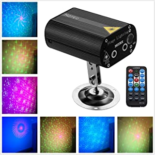 Hotec Laser Party Lights with Vivid LED Background, Sound Activated, Stage Laser and LED Lights for Parties, Thanksgiving, Xmas, Birthday, Wedding, Show, KTV, Bar, Club, Pub, DJ