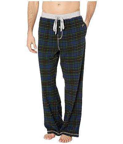 True Grit Melange Crossroads Checks Flannel Pajama Pants with Heather Knit Trim (Navy/Green) Men