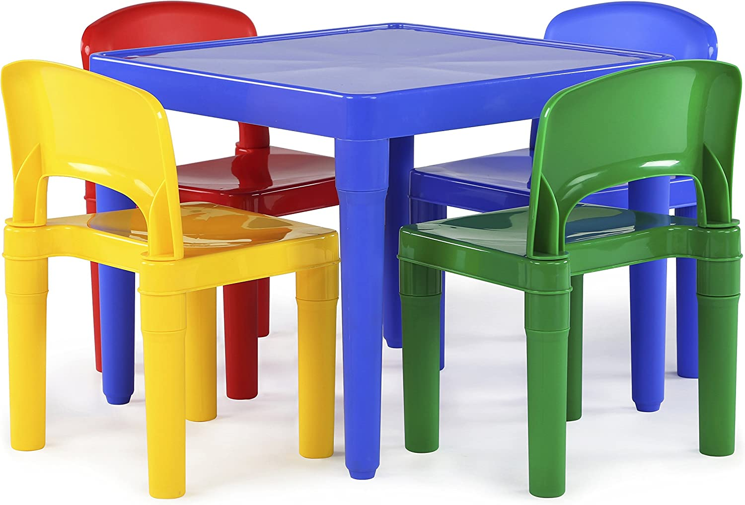 Tot Tutors Kid's Plastic Table and 4-Chairs Set, Primary colors