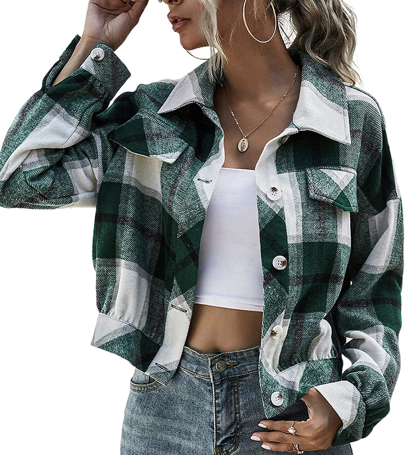 Women Button Up Plaid Shirt Jacket Thick Short Shacket Coat Vintage Crop Tunic Casual Blouse Top Outwear with Pocket