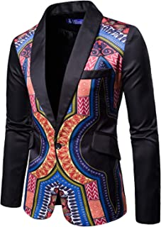 Mens African Ethnic Style Jackets Coat Dashiki Casual Long Sleeve One Button Suit Blazer Outwear